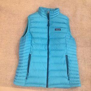 Patagonia Size L Blue Down Sweater  Vest EUC
